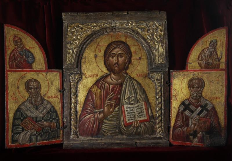 105-cristo-pantocrator-tra-i-santi-giona-e-atanasio-isaia-e-nicola-sec-xvii-xviii-grecia